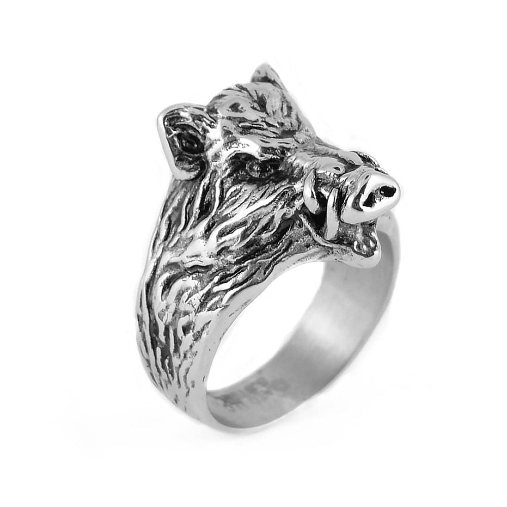 SK1847  Gents Hog Wild Boar Ring Stainless Steel Motorcycle Jewelry  Size 9-15