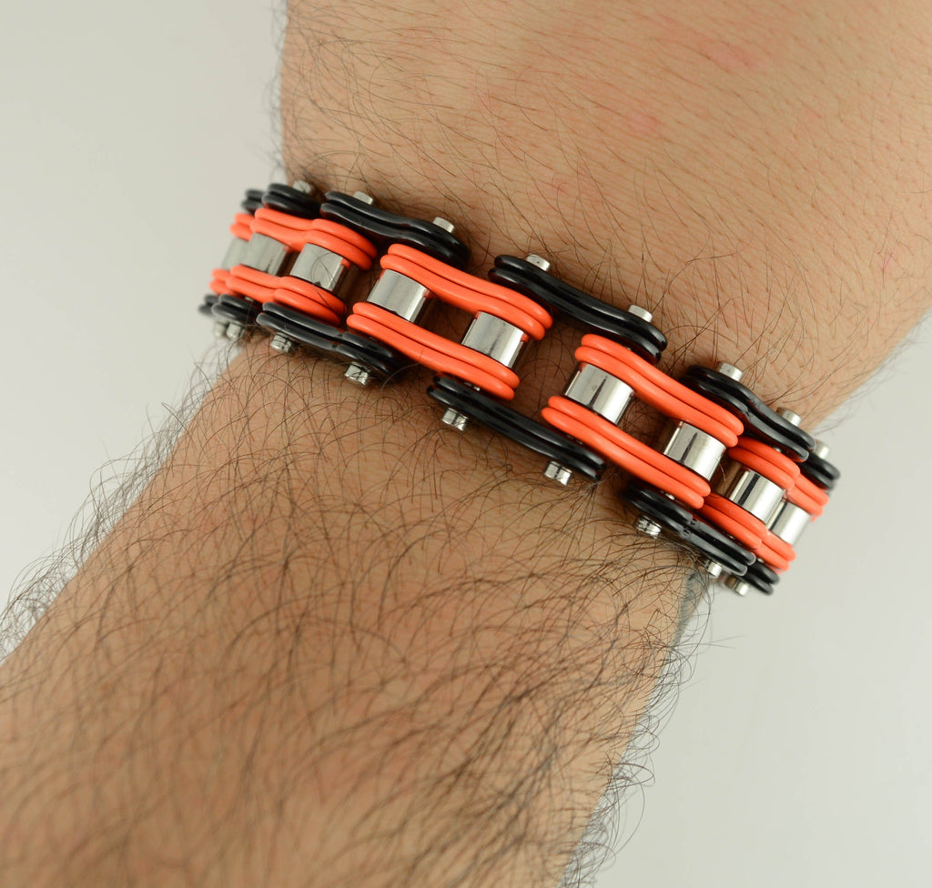 "SK1270 Two Tone Orange Black 3/4"" Wide Double Link Design Unisex Stainless Steel Motorcycle Chain Bracelet"