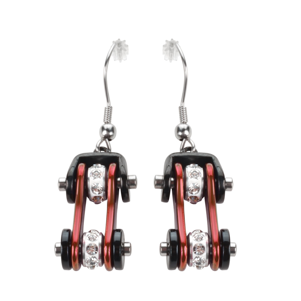 SK1106E Two Tone Black Candy Red Crystal Centers Bike Chain Earrings Stainless Steel Motorcycle Biker Jewelry