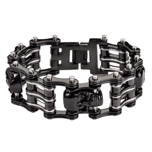 "SK1170 Two Tone Black Silver 1"" Wide 3 Skulls Unisex Stainless Steel Motorcycle Skull Chain Bracelet"