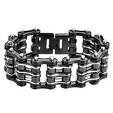 "SK1136 Bike Chain Bracelet 1"" Wide Black Silver Unisex Stainless Steel Motorcycle Chain Bracelet"