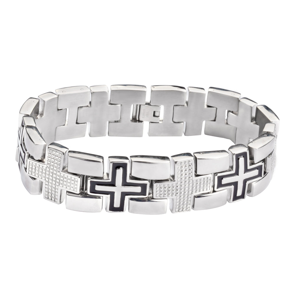 SK1759 Men's Luxury Cross Bracelet  Stainless Steel Religious Jewelry