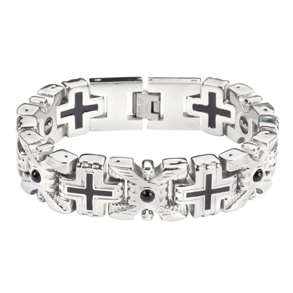 SK1760  X Cross Stone Bracelet  Stainless Steel Religious Jewelry