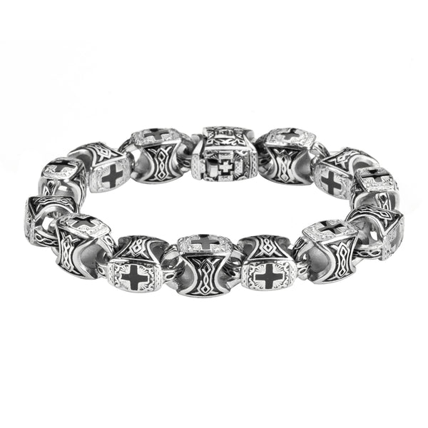 SK1715 Men's Greek Cross Bracelet  Stainless Steel Religious Jewelry