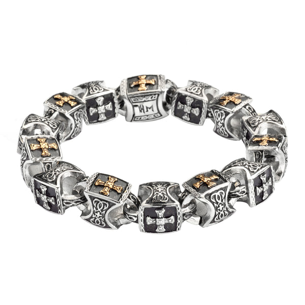 SK1758 Men's Greek Plated Cross Bracelet  Stainless Steel Religious Jewelry