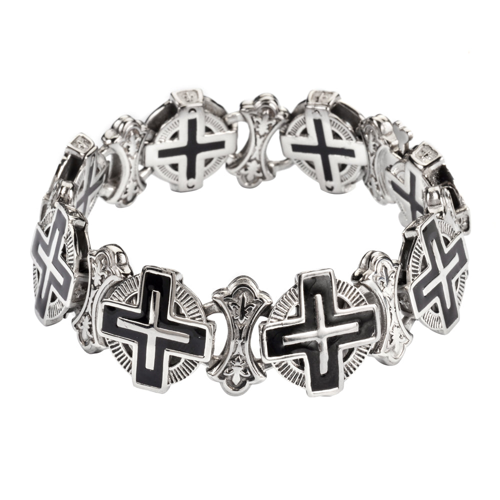 #SK1716 Men's Greek Halo Cross Bracelet Stainless Steel