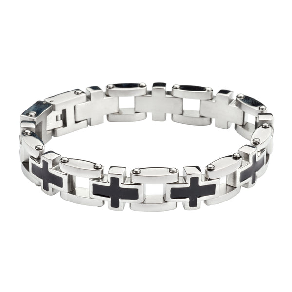 SK1129 Men's Christian Cross Bracelet  Stainless Steel Religious Jewelry