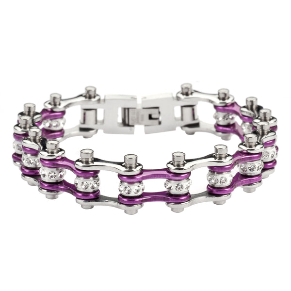 "SK1903 1/2"" Wide MINI SIZE Two Tone Silver Candy Purple With White Crystal Centers Stainless Steel Motorcycle Bike Chain Bracelet"