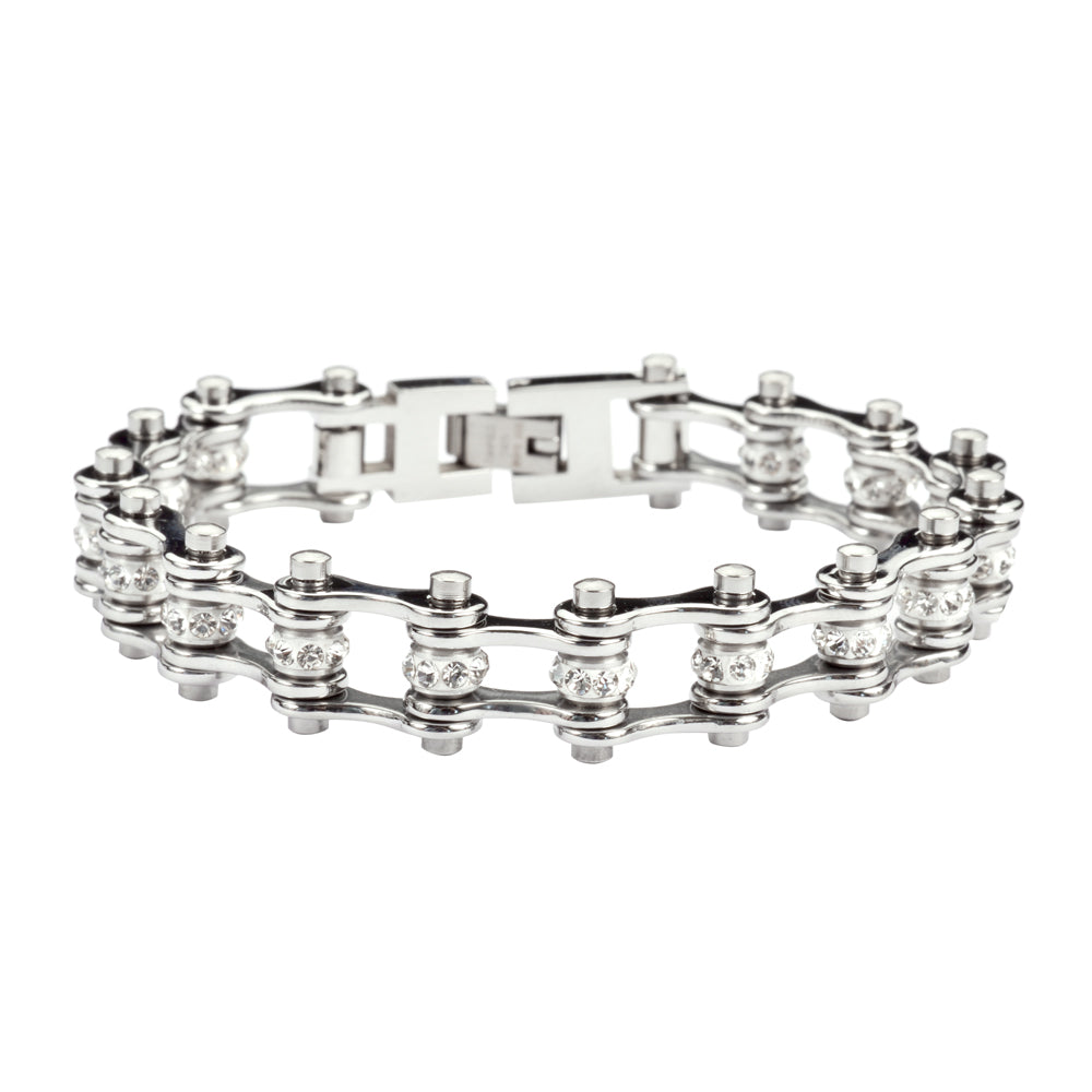 "SK1905 1/2"" Wide MINI SIZE All Silver With White Crystal Centers Stainless Steel Motorcycle Bike Chain Bracelet"
