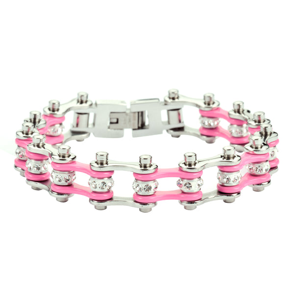 "SK1918 1/2"" Wide MINI SIZE Two Tone Silver Pink With White Crystal Centers Stainless Steel Motorcycle Bike Chain Bracelet"