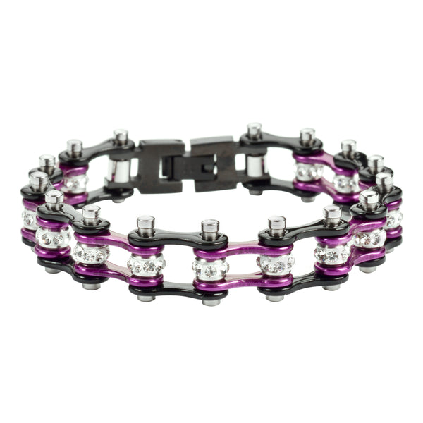 "SK1909 1/2"" Wide MINI SIZE Two Tone Black Candy Purple With White Crystal Centers Stainless Steel Motorcycle Bike Chain Bracelet"