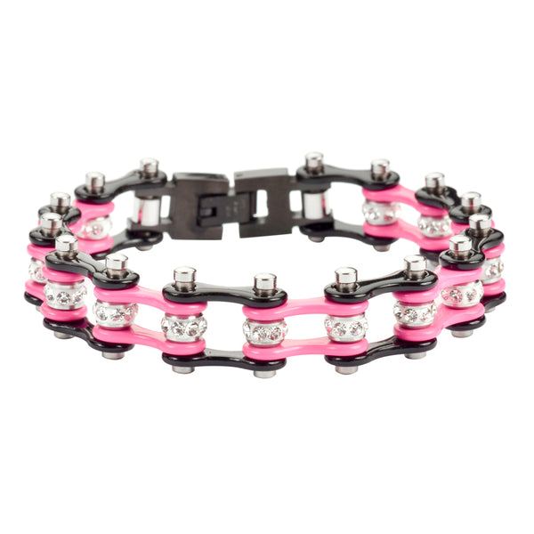 "SK1997 1/2"" Wide Two Tone Black Pink With White Crystal Centers Stainless Steel Motorcycle Bike Chain Bracelet"