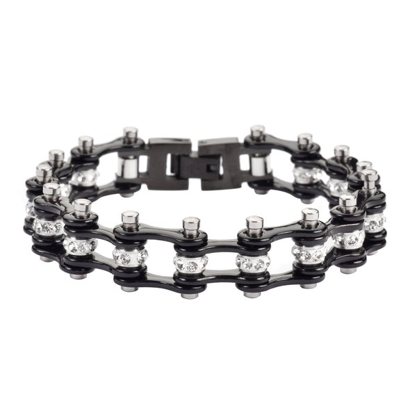 "SK1917 1/2"" Wide MINI SIZE All Black With White Crystal Centers Stainless Steel Motorcycle Bike Chain Bracelet"