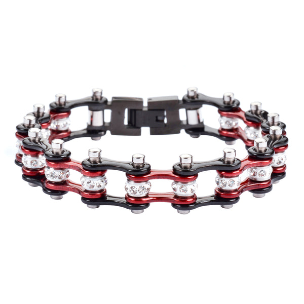 "SK1906 1/2"" Wide MINI SIZE Two Tone Black Candy Red With White Crystal Centers Stainless Steel Motorcycle Bike Chain Bracelet"