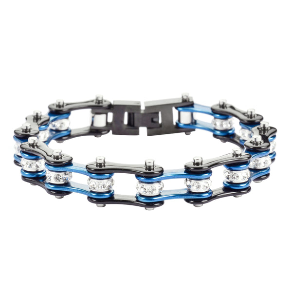 "SK1223 1/2"" Wide Two Tone Black Blue With White Crystal Centers Stainless Steel Motorcycle Bike Chain Bracelet"