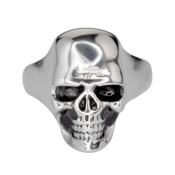 SK1540 Large Gents Skull Ring Stainless Steel Human Cranium Size 9-16