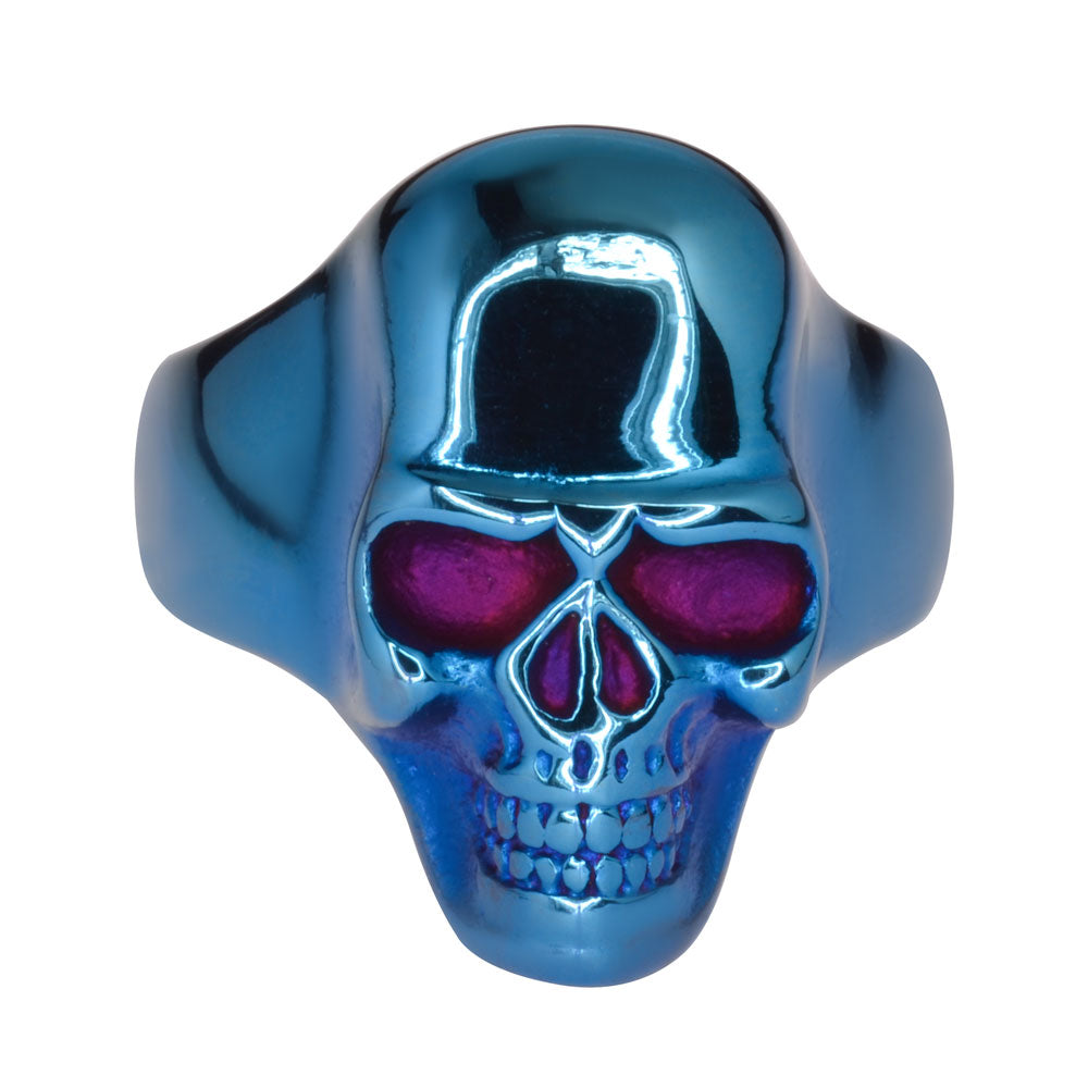 SK1709 Blue Anodized Skull Ring Stainless Steel Motorcycle Biker Jewelry