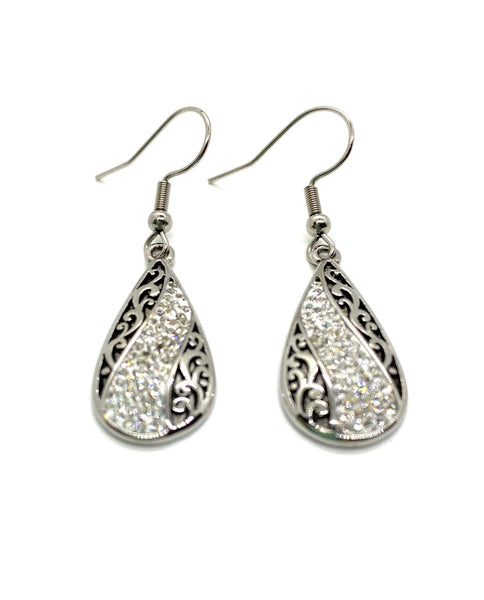 SK2521E Earrings Stainless Steel Bling Teardrop