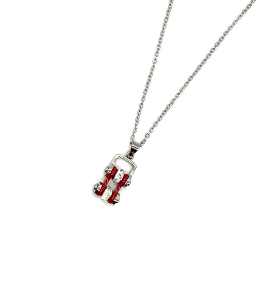 SK2001N  MINI Two Tone Silver Red With Crystal Centers Bike Chain Pendant Stainless Steel Motorcycle Biker Jewelry