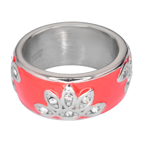 SK1003 Fancy Design Ring Orange, Blue, Red, Black, Purple, Pink Stainless Steel Ladies Jewelry