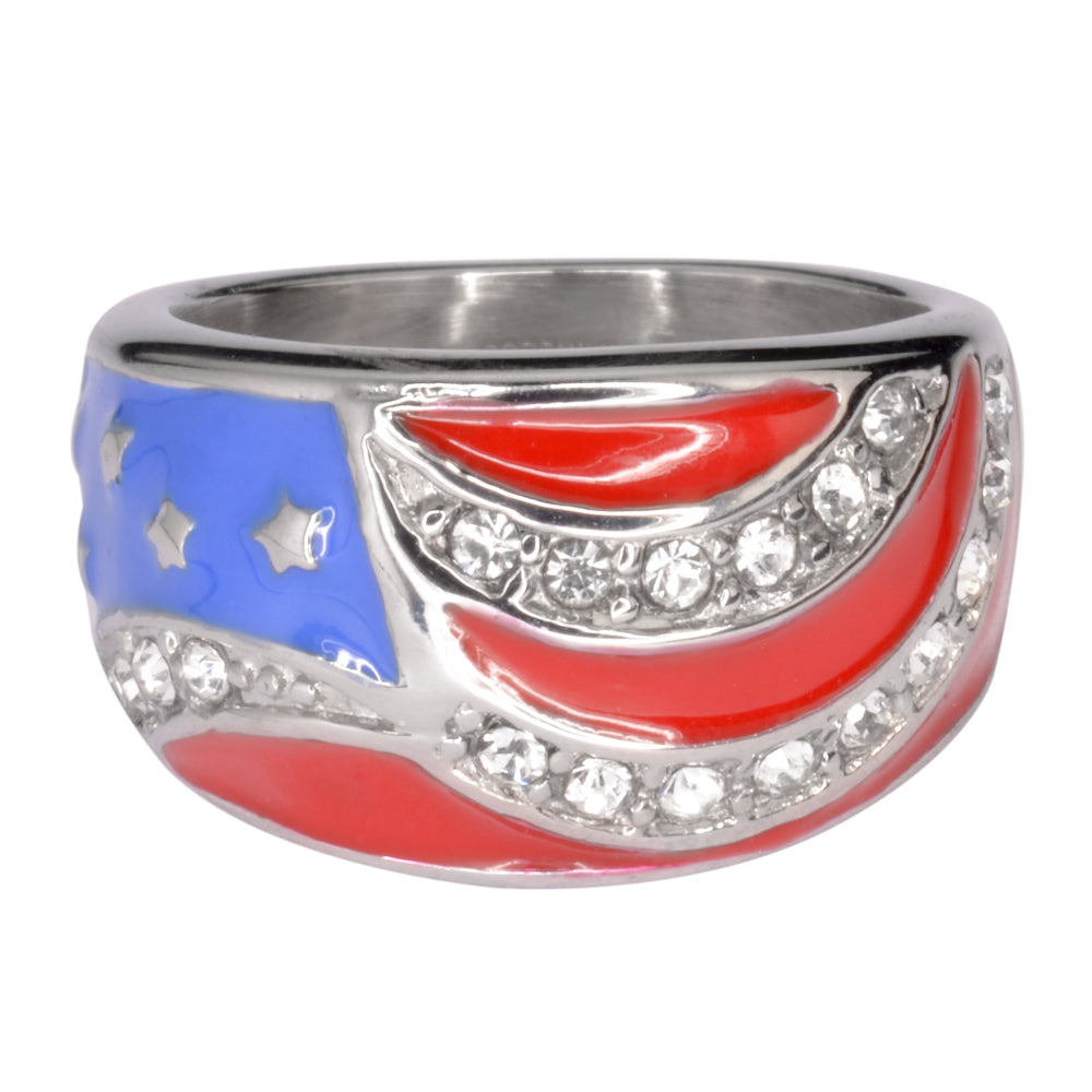 SK1006 Ladies American Flag Ring Imitation Diamonds Stainless Steel Patriotic Jewelry
