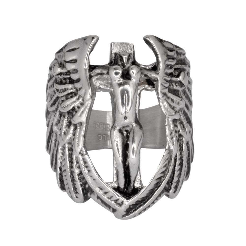 SK1007 Female Angel With Spread Wings Ring Stainless Steel Religious Motorcycle Jewelry Sizes 9-15