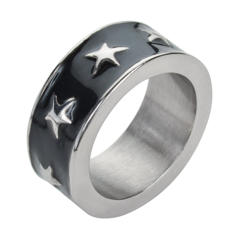 SK1008 Be My Star Ring Orange, Blue, Red, Black, Purple, Pink Stainless Steel Ladies Jewelry
