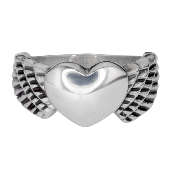 SK1009  Ladies Winged Heart Ring Stainless Steel Motorcycle Jewelry  Size 5-10