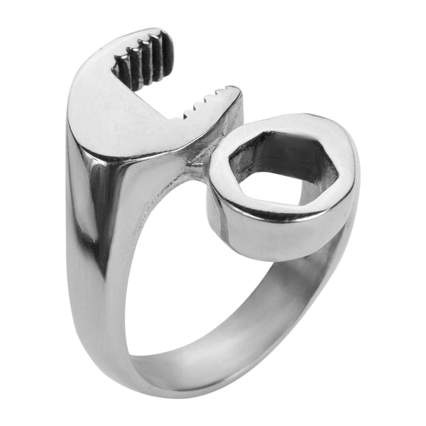 SK1010 Gents Wrench Ring Stainless Steel Motorcycle Jewelry Size 8-15