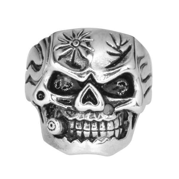 SK1012 Gents Bullet Hole Skull Ring Stainless Steel Motorcycle Biker Jewelry