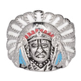 SK1018 Ladies Indian Head Ring With Enamel Stainless Steel