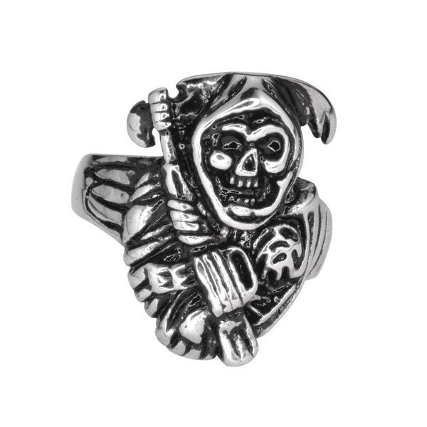 SK1030 Gents Grim Reaper Skull Ring Stainless Steel Motorcycle Biker Jewelry