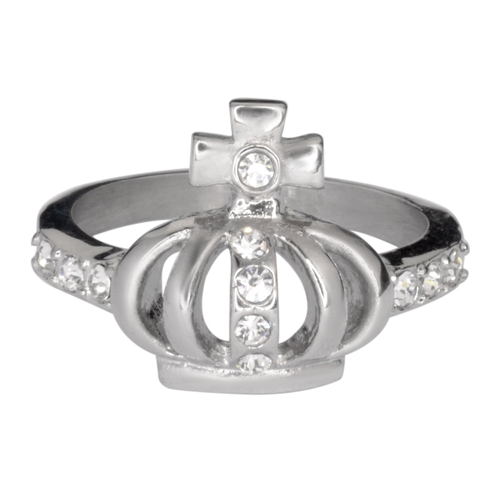 SK1031  Ladies Imitation Diamond Crown With Cross Ring Stainless Steel Motorcycle Jewelry  Sizes 5-9