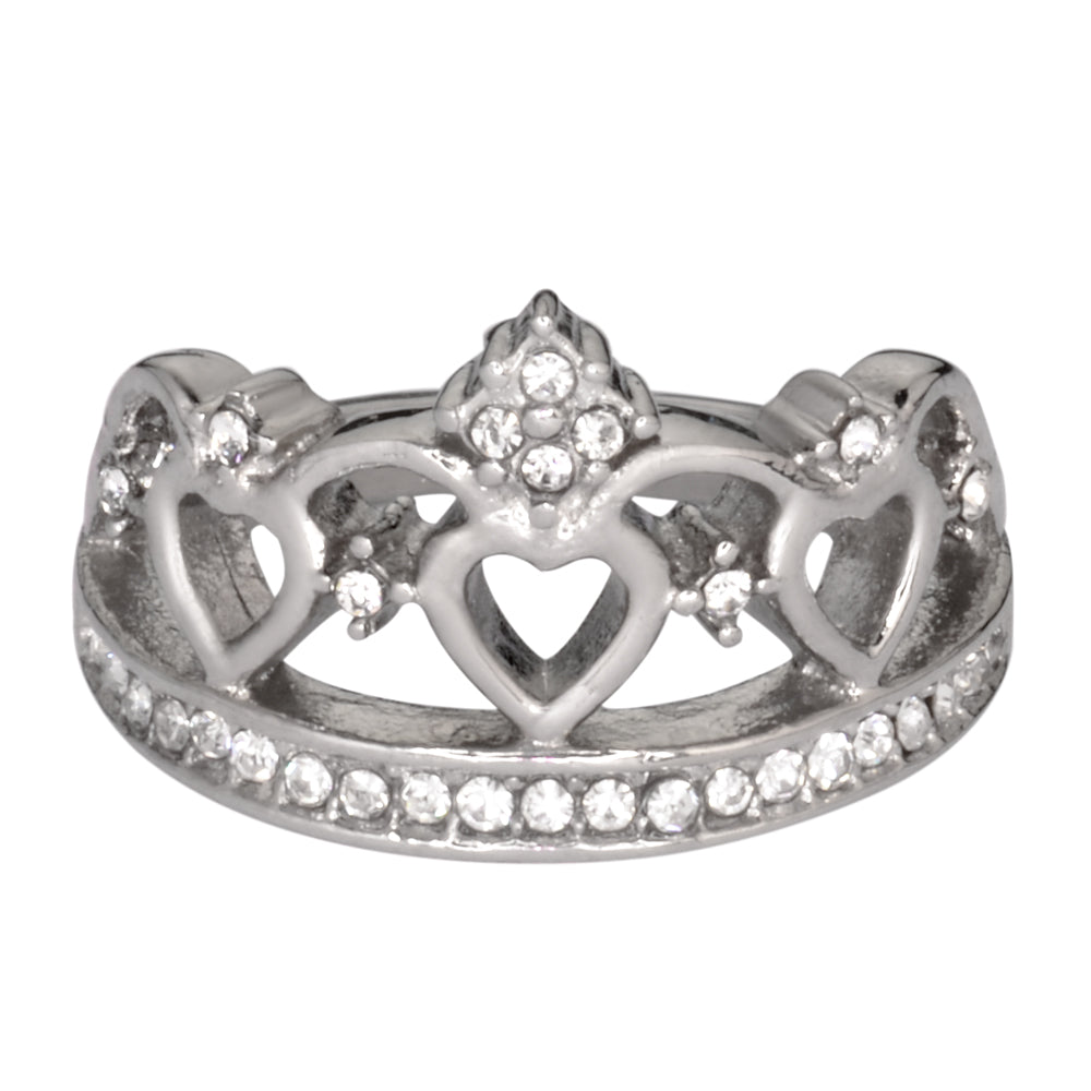 SK1032  Ladies Imitation Diamond Fancy Crown Ring Stainless Steel Motorcycle Jewelry  Sizes 5-9