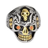 SK1033 Gents  Holy Toledo Skull Ring With Red Stone Eyes Stainless Steel Motorcycle Biker Jewelry