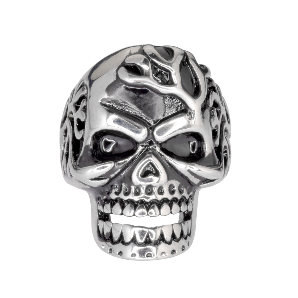 SK1035 Gents Mad Man Vein Popping Skull Ring Stainless Steel Motorcycle Biker Jewelry