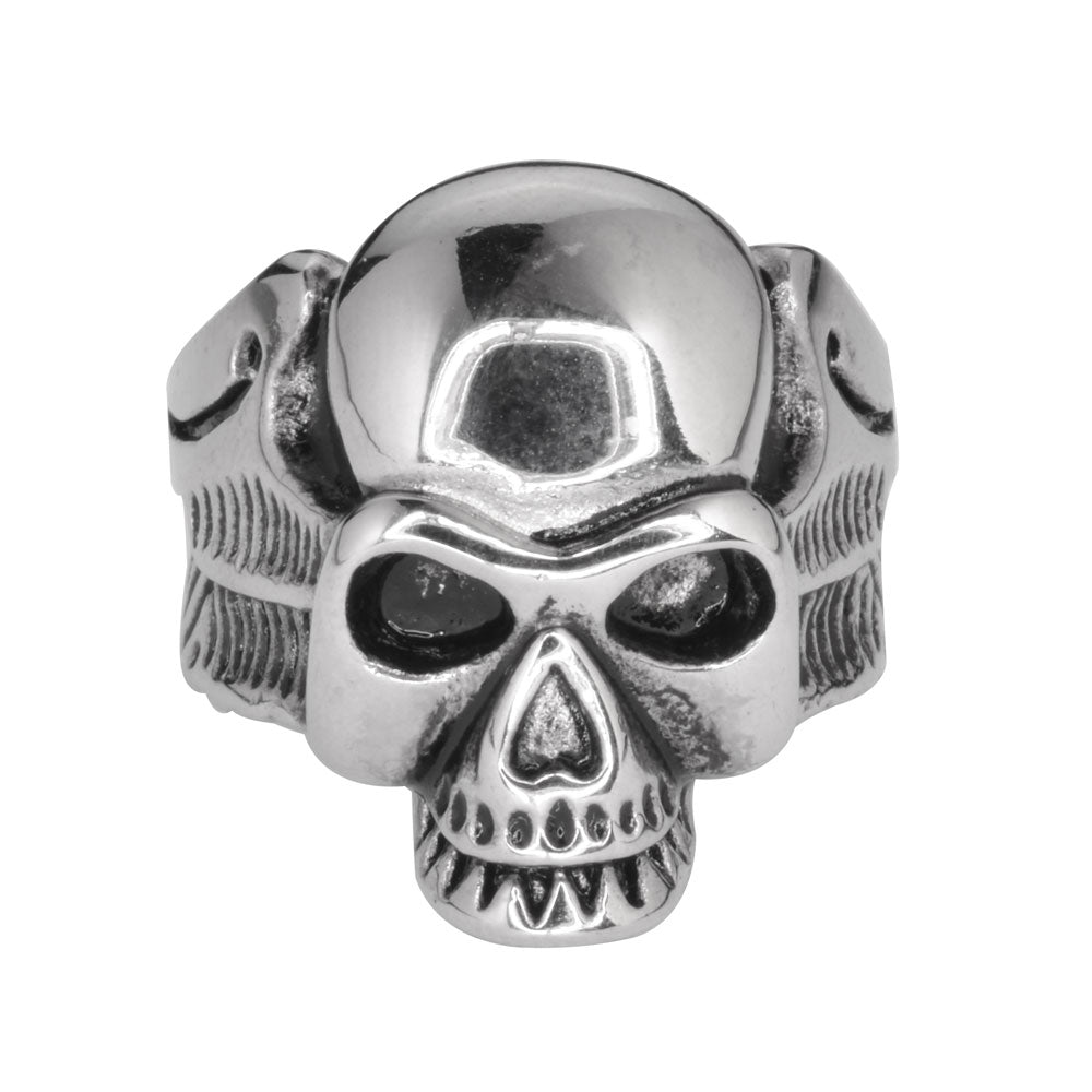 SK1039 Gents Life After Death Winged Skull Ring Stainless Steel Motorcycle Biker Jewelry