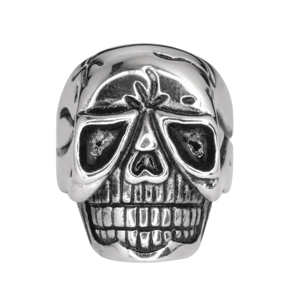 Mens Biker Heavy Metal New Stainless Steel Flames Gold Tone Skull Ring Sz 10-14