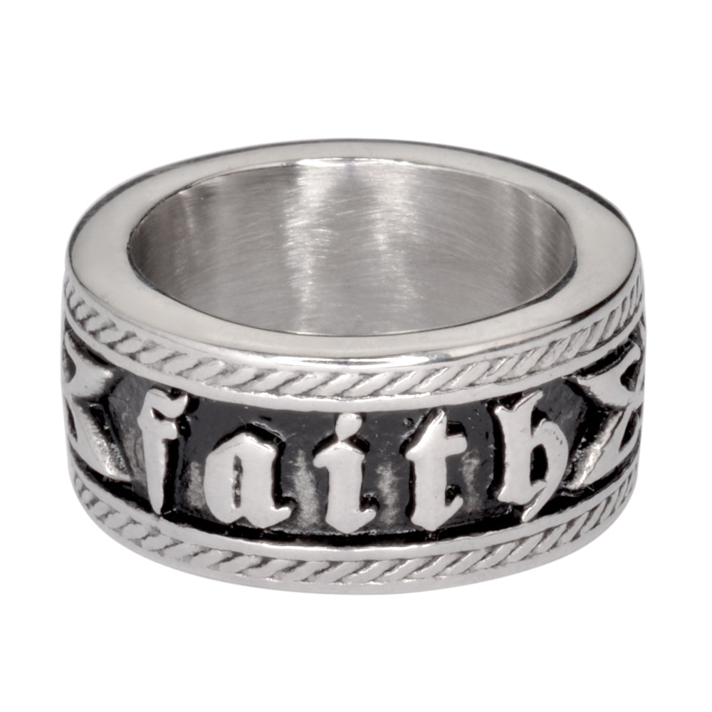 SK1046  Ladies Faith Ring Wide Band Stainless Steel Motorcycle Jewelry  Sizes 6-10