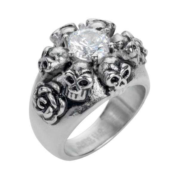SK1049  Ladies Six Skull & Roses Imitation Diamond Ring Stainless Steel Motorcycle Jewelry  Size 5-9