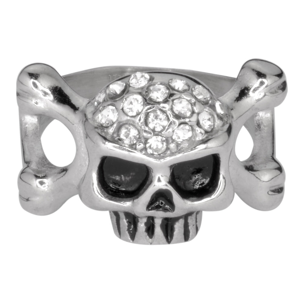 SK1050  Ladies Skull Bones Imitation Diamond Ring Stainless Steel Motorcycle Jewelry  Size 5-9