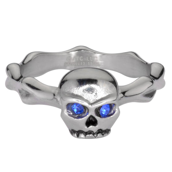 SK1052  Ladies Blue Eyed Skull Bones Ring Stainless Steel Motorcycle Jewelry  Sizes 5-9