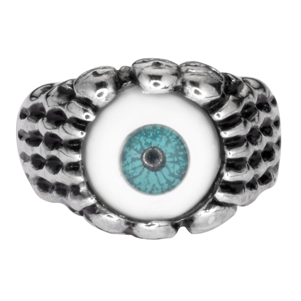SK1053  Ladies Blue Eyeball Ring Stainless Steel Motorcycle Jewelry  Sizes 5-10