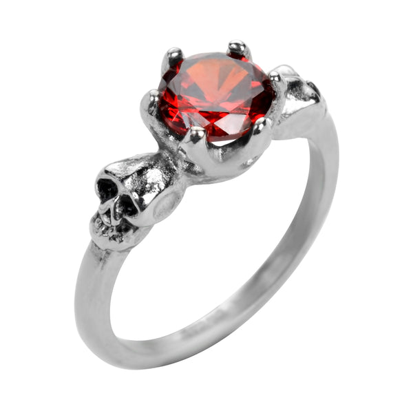 SK1054  Ladies Imitation Ruby Stone Solitaire Skull Ring Stainless Steel Motorcycle Jewelry  Sizes 5-10