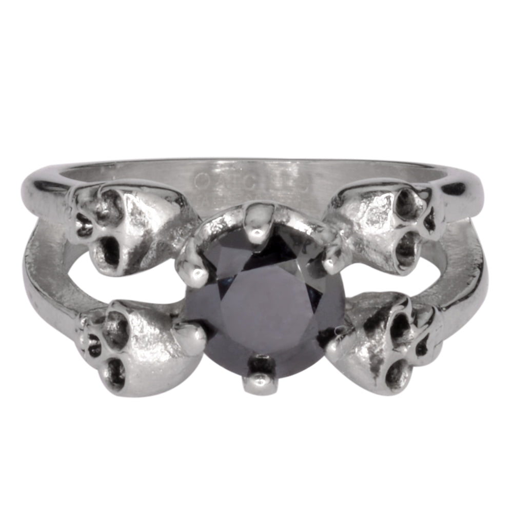 SK1055  Ladies Black Stone Four Solitaire Skull Ring Stainless Steel Motorcycle Jewelry  Sizes 5-10