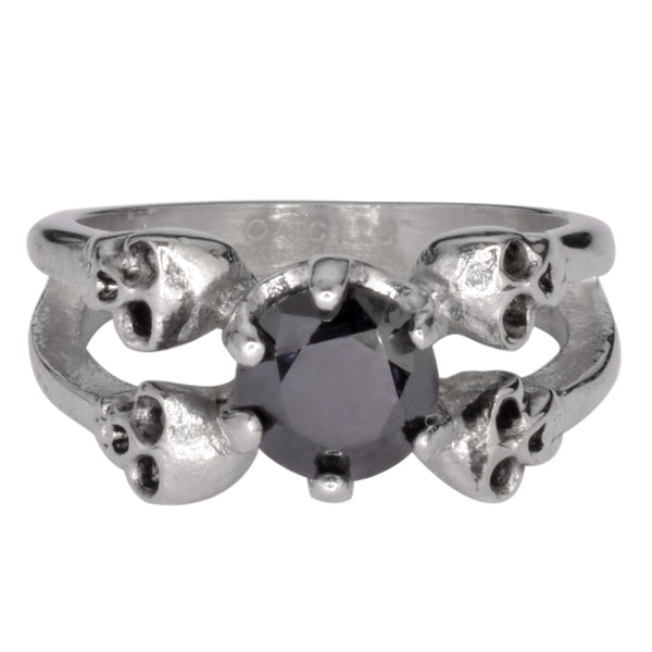 SK1055  Ladies Black Stone Four Solitaire Skull Ring Stainless Steel Motorcycle Jewelry  Sizes 5-9