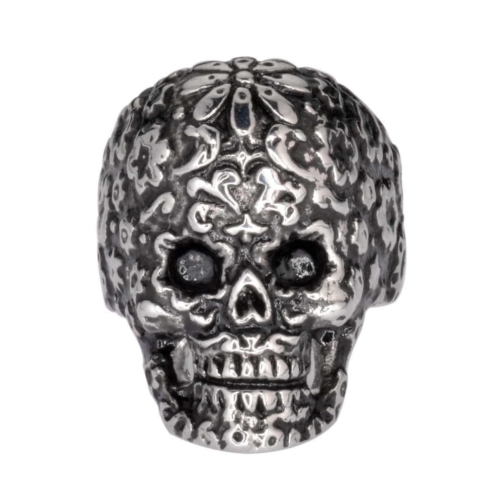 SK1057  Ladies Flower Skull Ring Stainless Steel  Motorcycle Jewelry  Size 5-9