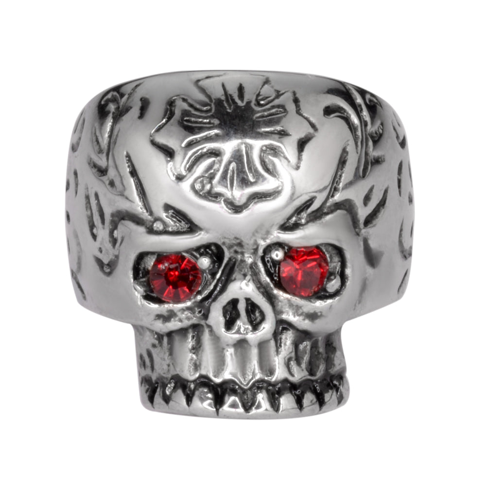 SK1058  Ladies Cross Imitation Ruby Eyes Skull Ring Stainless Steel Motorcycle Jewelry  Size 5-9