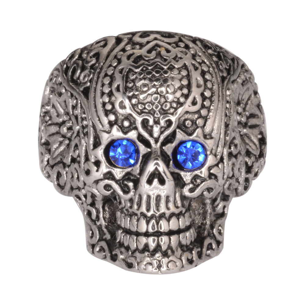 SK1062  Ladies Blue Eyed Tribal Tattoo Skull Ring Stainless Steel  Motorcycle Jewelry  Size 5-9