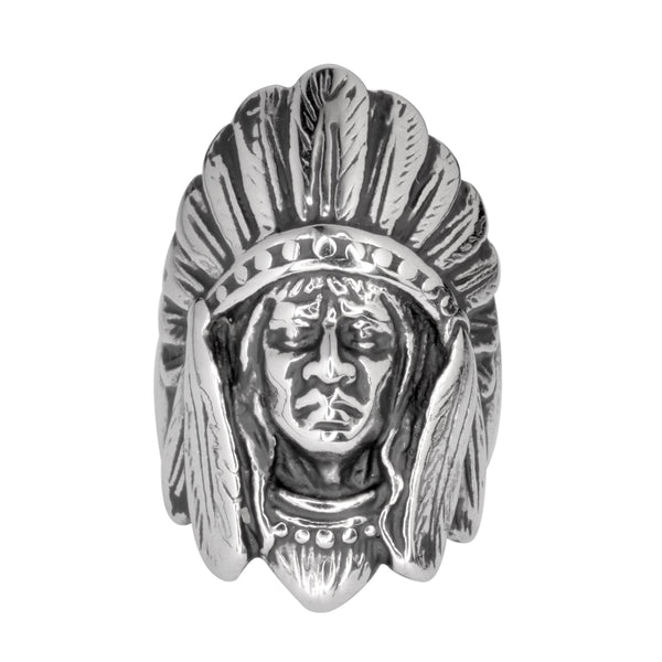 SK1063 Gents Indian Head Ring  Stainless Steel Motorcycle Jewelry